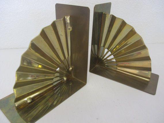 Modern Brass bookends Asian Bookends Fan by BelindasStyleShop