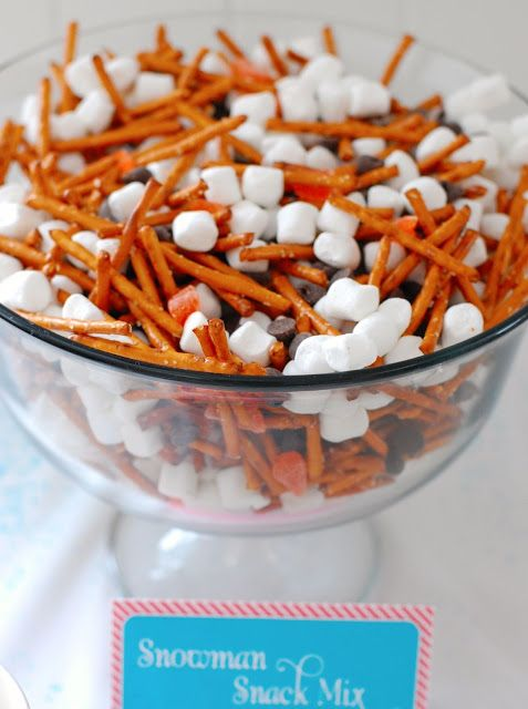 """snowman snack mix. other good ideas, like cute invitation and decor and """"melted snowman""""=water"""