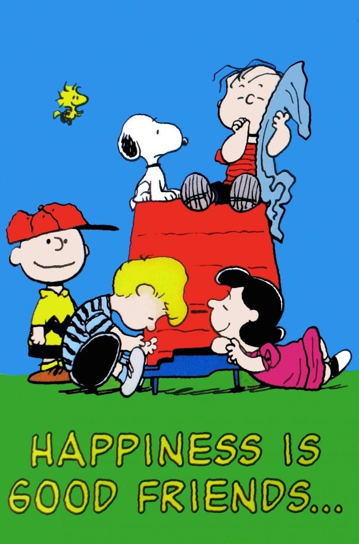 Happiness Is Good Friends - Snoopy, Woodstock, Charlie Brown, Lucy, Linus and Schroeder On and Around Snoopy's Doghouse