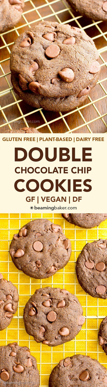 Veganos dobles galletas de chocolate (V, GF, DF): una receta fácil para las galletas de chocolate decadentes suaves, llenos de chispas de chocolate.  #Vegan #GlutenFree #DairyFree |  BeamingBaker.com
