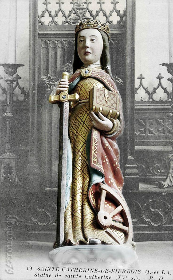 Reliques saintes Catherine d'Alexandrie de fierbois Le premier manuscrit citant Sainte-Catherine-de-Fierbois est un ouvrage du XVe siècle : Vie de sainte Catherine dans lequel est relaté le premier miracle de cette dernière.