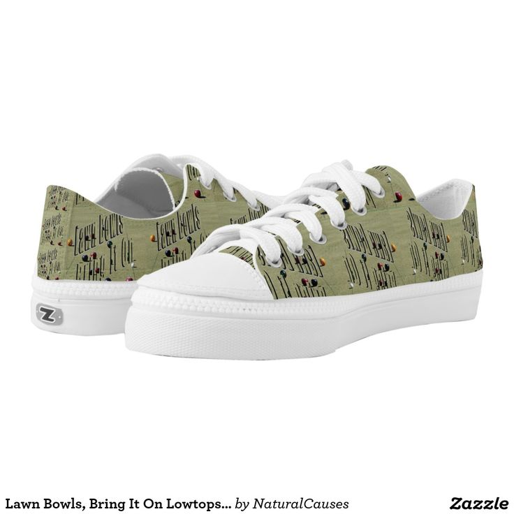 Lawn Bowls, Bring It On Lowtops Zipz Printed Shoes