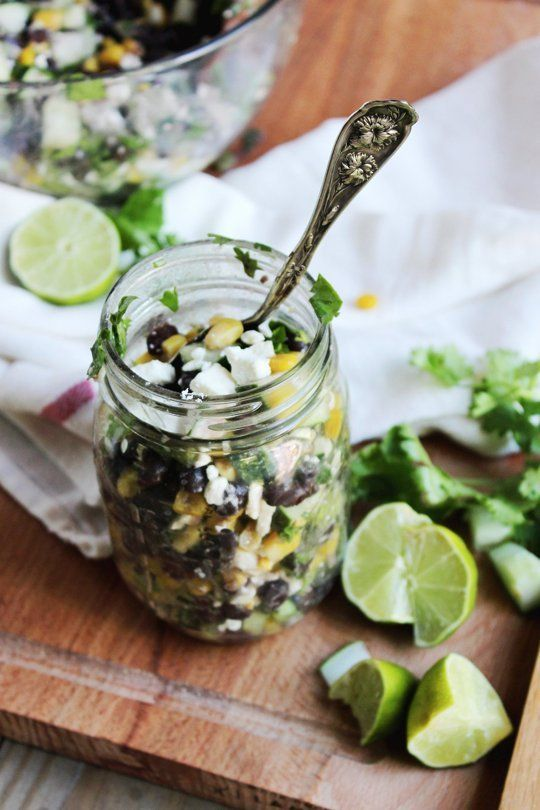 Chilled black bean feta cucumber salad recipe in a jar.