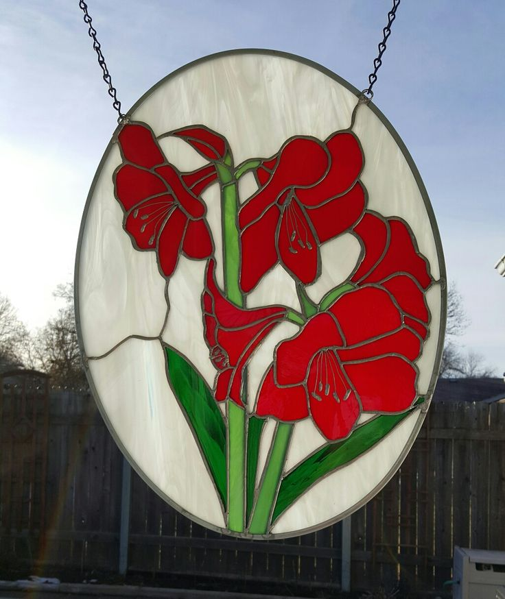 Stained Glass Panel of beautiful amaryllis 21