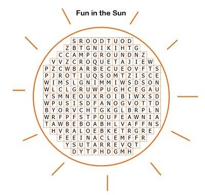 Fun Summer Word Search with a big twist. Find ONLY the words that are spelled correctly in the word list!