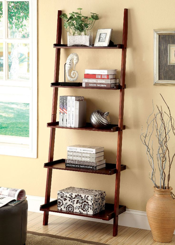 Furniture of America CM-AC6213CH contemporary bookcase with 5-tier ladder  shelf in a