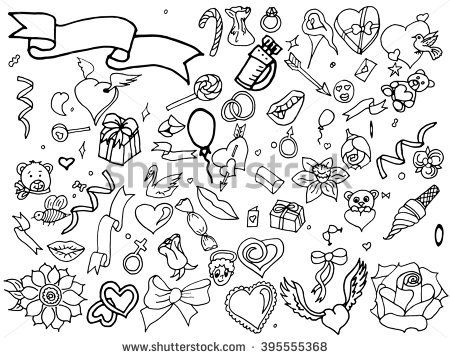 Valentine Day coloring line art design raster illustration. Colored design elements. Separate objects. Hand drawn doodle design elements.