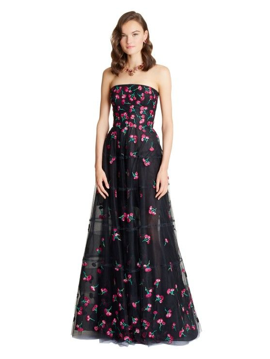 Carnation Embroidered Tulle Gown