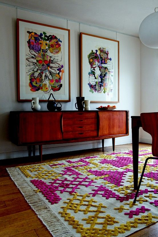 foxontherun:(via My ideal home / Point-de-Croix #rug, Alnoor for Diacasan Edition): Credenzas, Living Rooms, Buffet, Crossstitch, Color, Mid Century, Crosses Stitches, Rugs, Midcentury