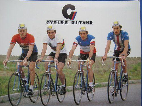 Cycles Gitane, 1981, Lucien Didier, Bernard Hinault, Pierre-Raymond Villemiane, and Jonathan Boyer.