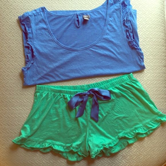 Super soft aerie PJs! Blue, ruffle sleeve, muscle tank with real green ruffle shorts that has a satin blue bow aerie Intimates & Sleepwear Pajamas