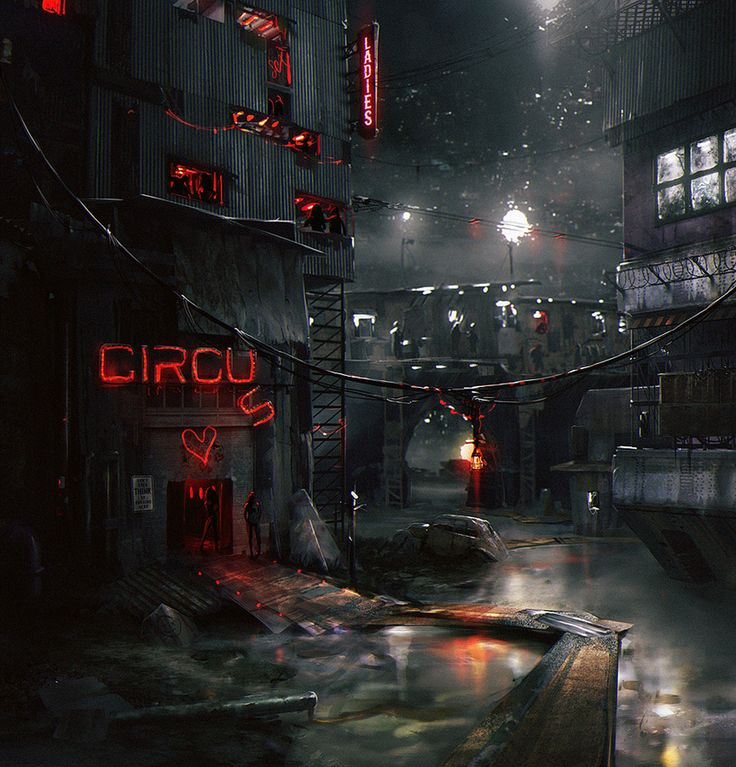 (Cyberpunk, Dystopia, Circus by Nicolas Francoeur)  More ideas for the New York Undercity. Though I do still like the idea of certain parts being flooded out.