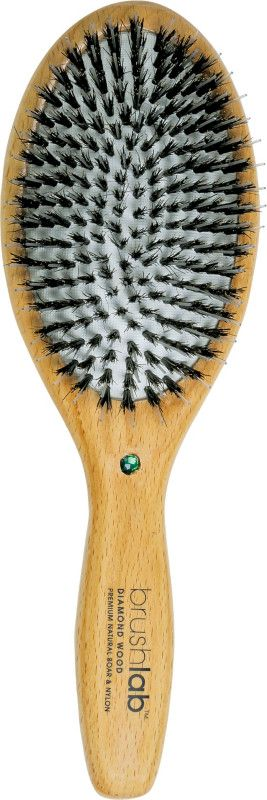Brush Lab Diamond Wood Boar Bristle Oval Cushion Brush