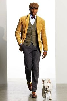 mustard corduroy, vest, and slacks...and of course the frenchie!