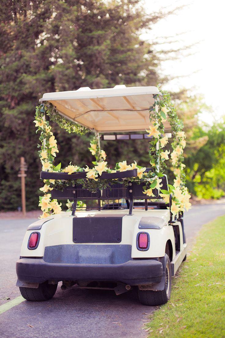 LA County Arboretum & Botanic Garden Wedding | Stephen Grant Photography | Decorated golf cart for bride & groom