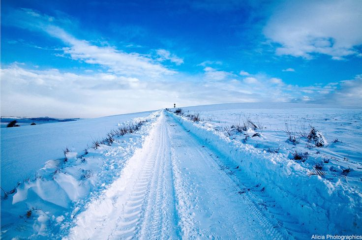 Long snow covered road in Woodingdean. Photo by Alicia photographics.