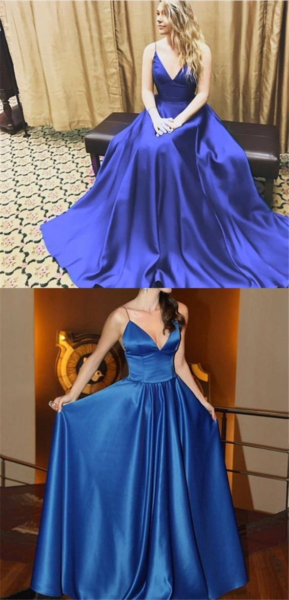 elegant royal blue prom party dresses , simple fashion formal gowns ,long prom dresses.