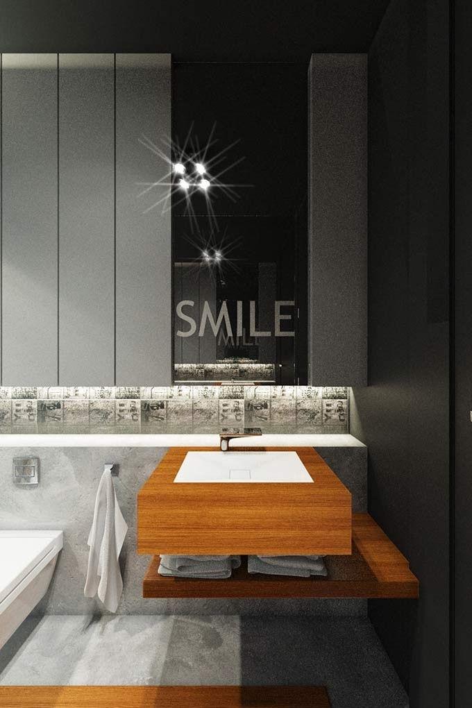 Projekt wnętrza łazienki w domu w Milanówku.