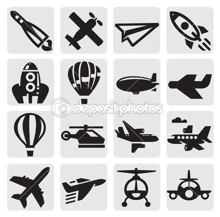 vector zwart vliegtuig pictogram ingesteld op grijs — Stockillustratie #12483120