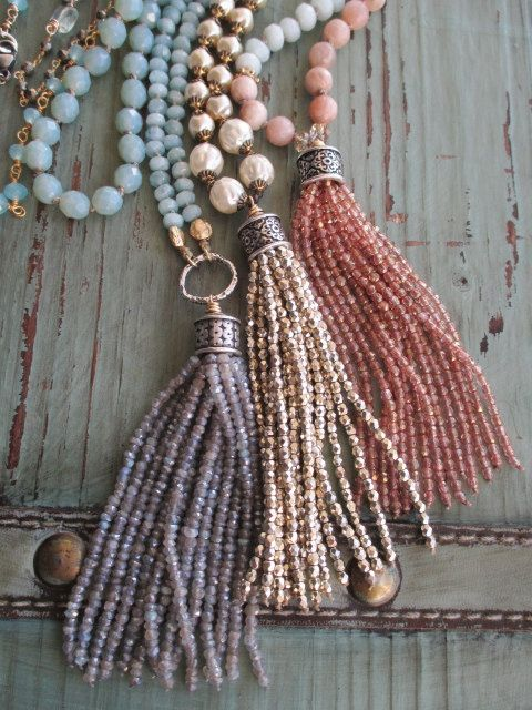 Sparkly gold pearl tassel necklace Bohemian by slashKnots on Etsy