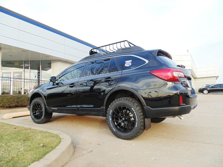 "Brand: Subaru Model: OutbackYear: 2017Couleur: Black Modifications: Tires: 245/65R17 BFGoodrich All Terrain T/A KO2 Wheels: Motegi Racing MR118 17x8 Offset 45 Lift kit: 2"" LP Aventure Cargo basket: Yakima Loadwarrior Mud flaps: Rally Armor"