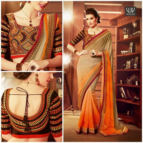 Buy Now @ http://goo.gl/0uppWH  Orange And Beige Embroidery Faux Georgette Saree  Orange and beige faux georgette saree created with plain taxture, resham work, lace and patch border work.Comes with matching beige unstitched blouse.