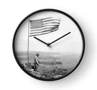 American Flag Flying Over Mount Suribachi Clock