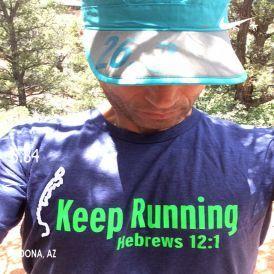 Running shirt - Keep Running - Hebrews 12:1 - Running On The Wall