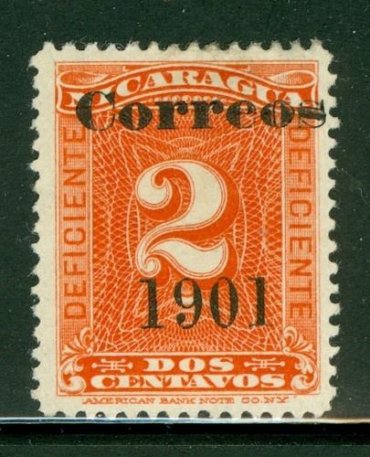 "Nicaragua 1900-1905: Scott #138 MNG 2c Vermilion ""Correos 1901"" OVPT"
