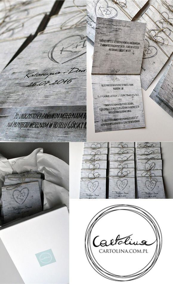 Zaproszenia ślubne Brzozowa aleja by Cartolina www.cartolina.com.pl wedding invitations