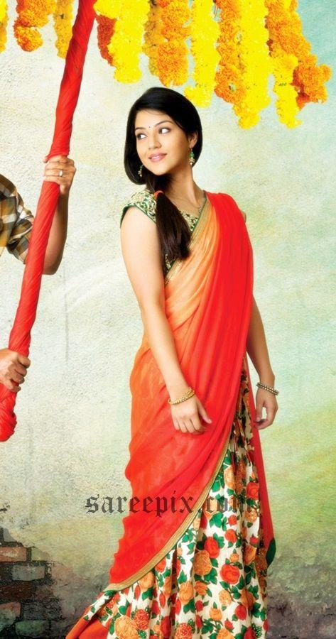 "Actress Mehreen in half saree from Nani's""Krishna Gaadi Veera Prema Gaada"" movie. She looks beautiful in half saree that features floral lehenga."
