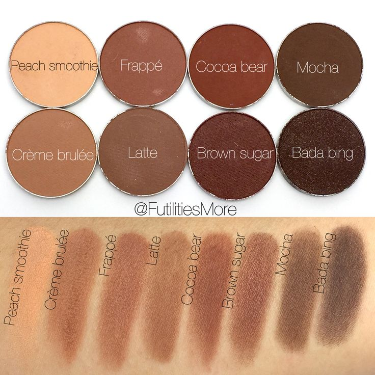 Makeup geek eyeshadow swatches. Peach smoothie, Crème brulée, frappé, latte, Cocoa bear, brown sugar, mocha, bada Bing. @futilitiesmore