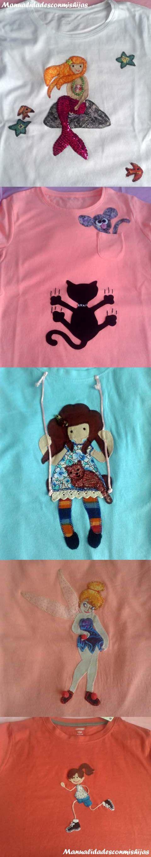 Manualidadesconmishijas: Camisetas de niña con aplicaciones de patchwork.