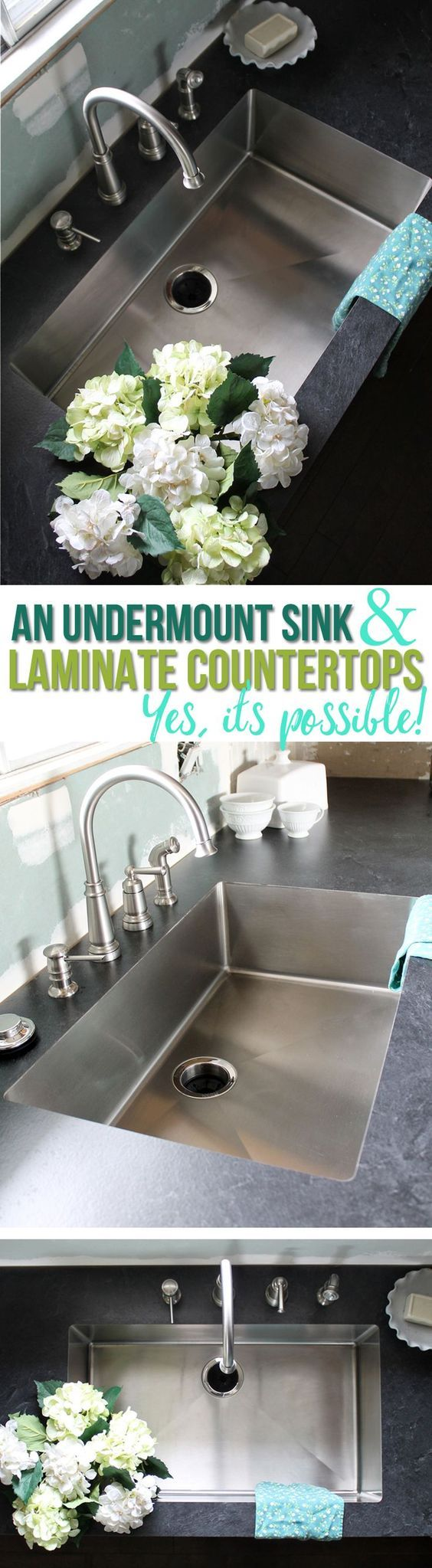 Beautiful undermount stainless steel sinks with Formica® Laminate! It's possible!
