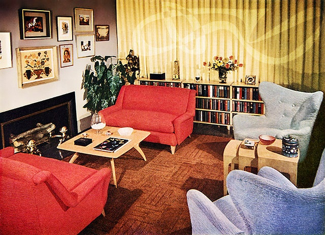 1950s interior designMid Century Modern, Living Rooms, Living Room Rugs, Interiors Design, 1950S Interiors, 1950S Era, Retro Interiors, 1950S House, 1950 S
