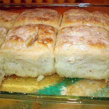Seven Up Biscuits: 4 cups Bisquick  1 cup sour cream  1 cup 7-up  ½ cup melted butter     Directions                       Mix bisquick, sour cream and 7 up. Melt butter in bottom of cookie sheet pan, and put shaped biscuits in, then Bake at 425 until golden