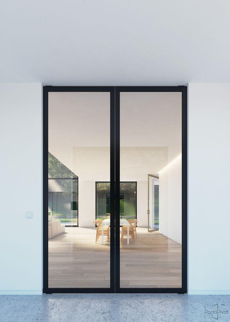 Double Glass Pivot Doors With Black Anodized Aluminium Frames And Handles Modern Patio Doors Glass Doors Interior Wood Exterior Door
