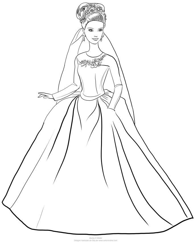 Disegno Di Barbie Cenerentola Con Abito Matrimonio Da Stampare E