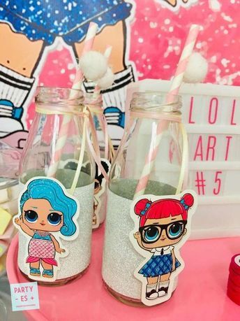 Die Getränkeflaschen bei dieser LOL Surprise Dolls Geburtstagsfeier sind so süß! Siehe mehr …  – Cumpleaños Chris y Chanel