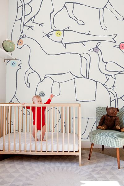 Home : Eleven MODERN Kids' Rooms You'll Super-Love  I love this animal wallpaper by Minakani Walls