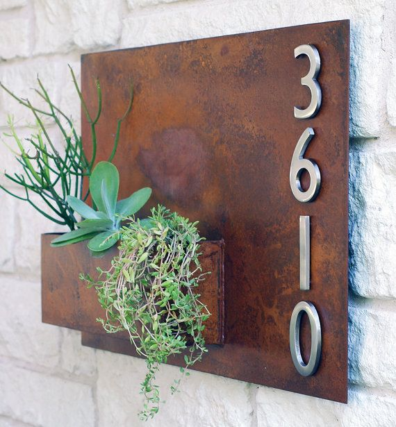 Hanging Planter & Metal Address Plaque Succulent by UrbanMettle