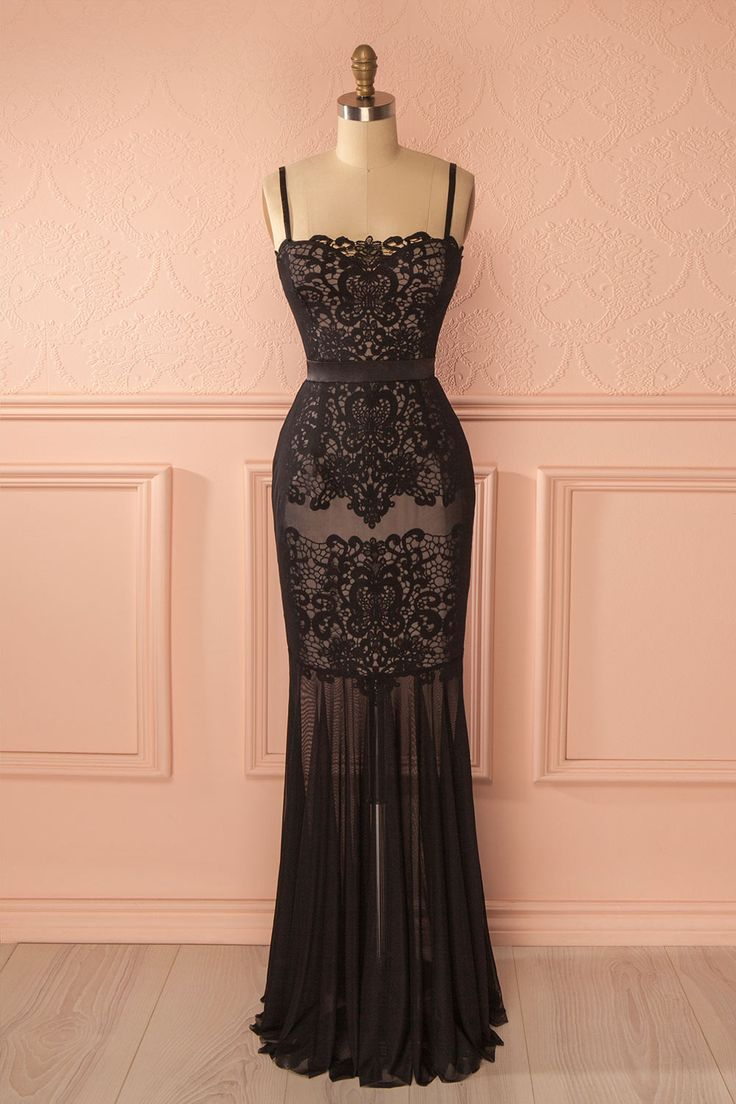 Robe bustier sirène noire dentelle - Black lace mermaid bustier gown