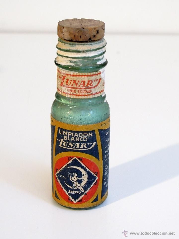 Antigua botella de LIMPIADOR BLANCO LUNAR con tapón de corcho original. Blanqueante, droguería.