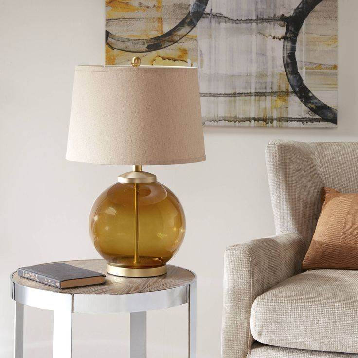"""Madison Park Berger Brown Table Lamp (15L x 15""""W x 24""""H - Brown) (Fabric)"""