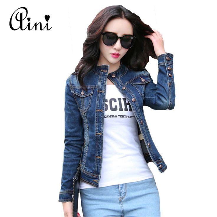 2017 Spring Ženy džínové bundy s dlouhým rukávem Short Denim Coat pro ženy Slim Jeans Jacket vynosit Chaquetas Mujer Plus vel.XL