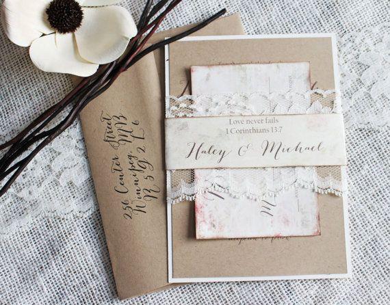 Shabby Chic Wedding Invitation. Lace Wedding by LoveofCreating