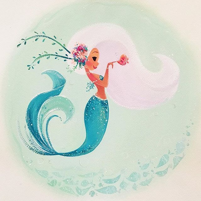 Boop! 11x14 inches-gouache paint on Arches watercolor paper. DM me for purchase inquiries. (update-Sold) Prints available in my Etsy shop. *link in profile. #MondayMermie #gouache #mermaid