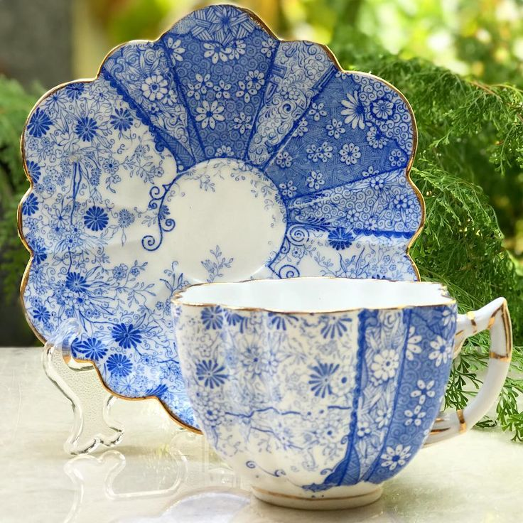 """Harmony Piring16: """"Antique Blue Teacup by Wileman Foley England"""