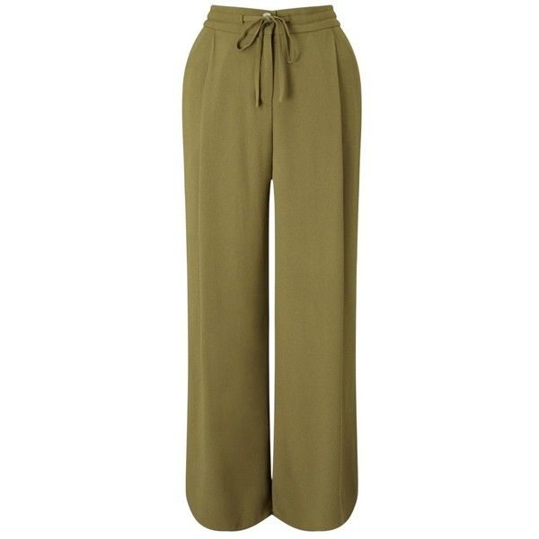 Jigsaw Curved Hem Cupro Trousers ($115) ❤ liked on Polyvore featuring pants, golden olive, brown trousers, military green pants, olive pants, green camo pants and woven pants