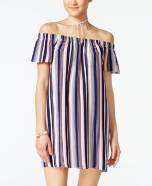 Ultra Flirt Juniors' Striped Necklace Shift Dress -